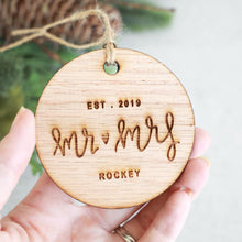 Load image into Gallery viewer, Mr and Mrs Established 2019 Christmas Ornament