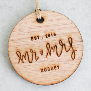 Mr and Mrs Established 2019 Christmas Ornament