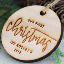 Load image into Gallery viewer, Our First Christmas 2019 Wood Christmas Ornament