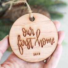 Load image into Gallery viewer, Our First Home 2019 Wood Christmas Ornament