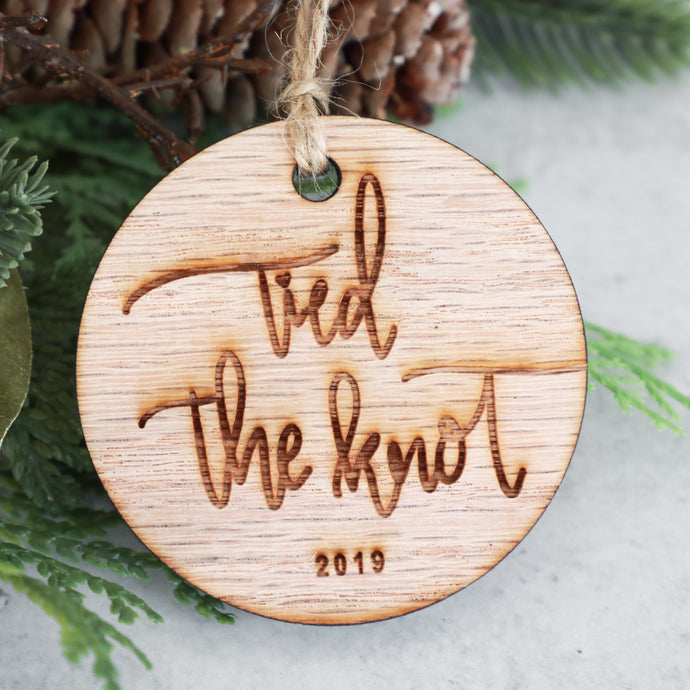 Tied The Knot 2019 Wood Christmas Ornament