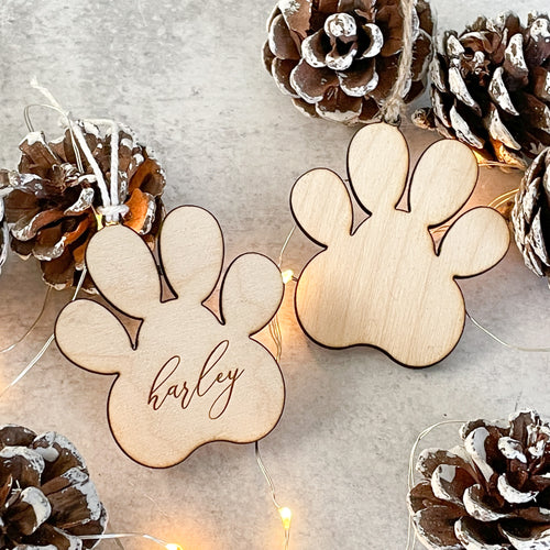 Personalized Birch Wood Paw Ornament