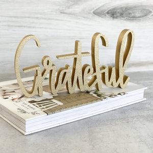 hand-lettered Grateful sign