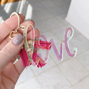 Colorful Love Keychain with Mini Tassels