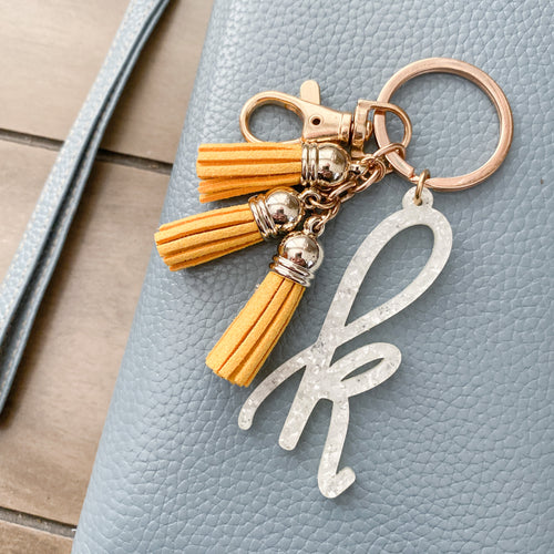 White Glitter Flake Individual Letter Keychain with Mini Tassels