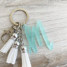 Load image into Gallery viewer, Frosted Seafoam Individual Letter Keychain with Mini Tassels