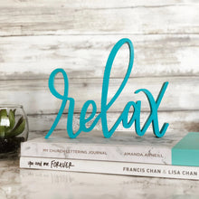Load image into Gallery viewer, hand-lettered Relax sign