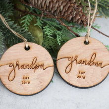 Load image into Gallery viewer, Grandpa & Grandma Established 2019 Christmas Ornament