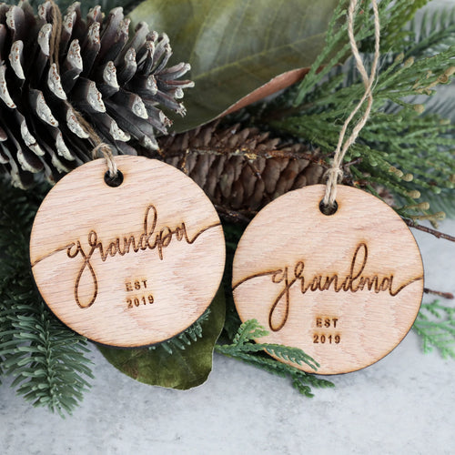 Grandpa & Grandma Established 2019 Christmas Ornament