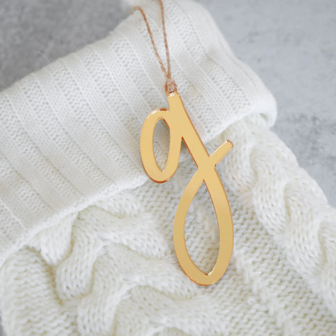 Acrylic Letter + Jute Twine | Ornament & Stocking Letter