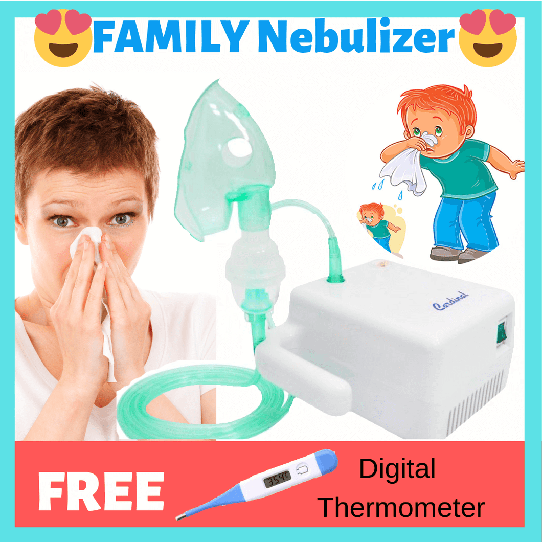 The Best Seller Smart Family Nebulizer for Allergy, Cough, Asthma, Bronchitis, Pneumonia (FREE Digital Thermometer)