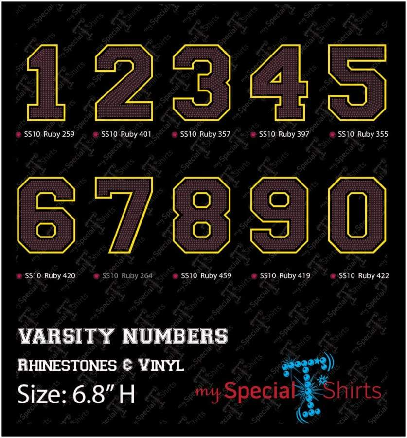6.8 Varsity Numbers Rhinestone With Htv Outline Digital Download Mst - Be Createful - Becreateful.com