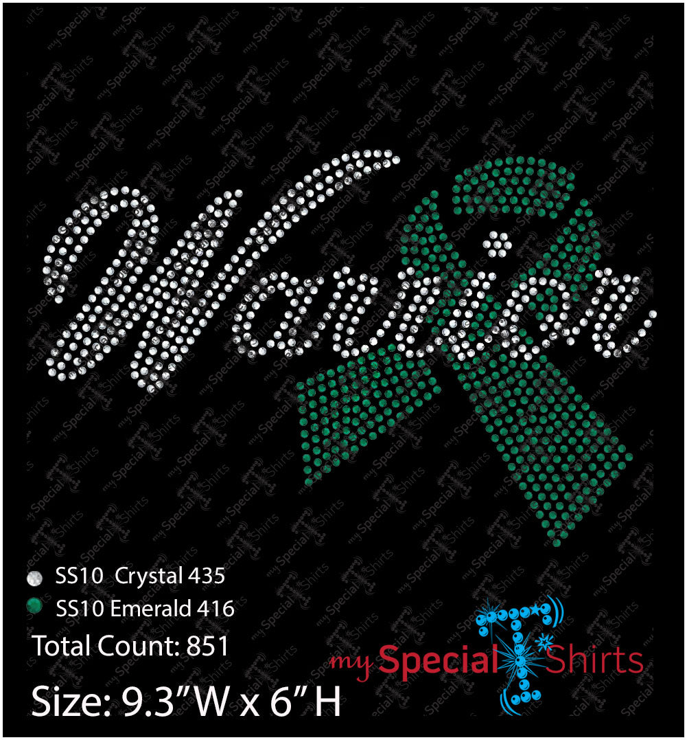 Warrior Green Cancer Awareness Ribbon, Instant Download Vector Design, Ribbon Digital Download (svg, dxf .eps) Rhinestone Transfer cut file