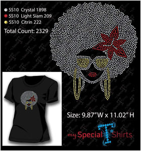 Afro Girl With Flower Rhinestone Digital Download Mst - Be Createful - Becreateful.com
