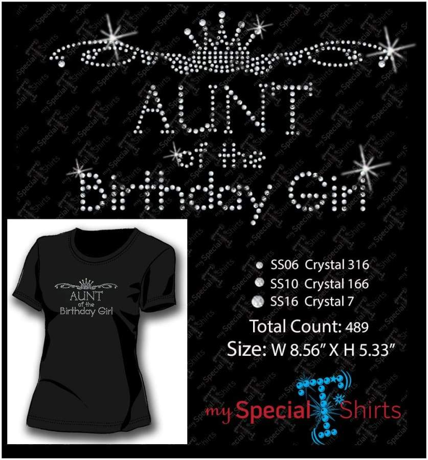 Aunt Of The Birthday Girl Rhinestone Digital Download Mst - Be Createful - Becreateful.com