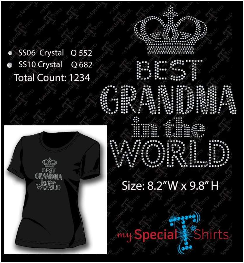Best Grandma In The World Rhinestone Digital Download Mst - Be Createful - Becreateful.com