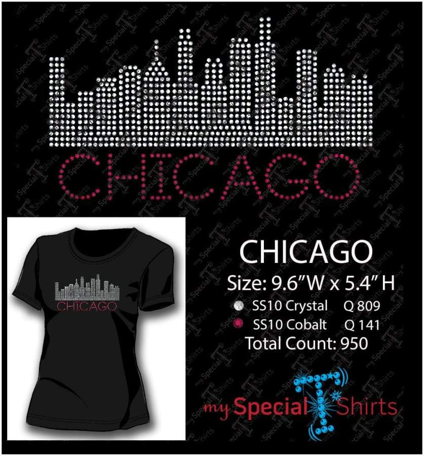 Chicago Skyline Ss10 Rhinestone Digital Download Mst - Be Createful - Becreateful.com