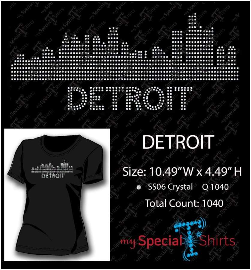 Detroit Skyline Rhinestone Digital Download Mst - Be Createful - Becreateful.com
