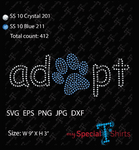 Adopt with Paw Rhinestone Digital Download