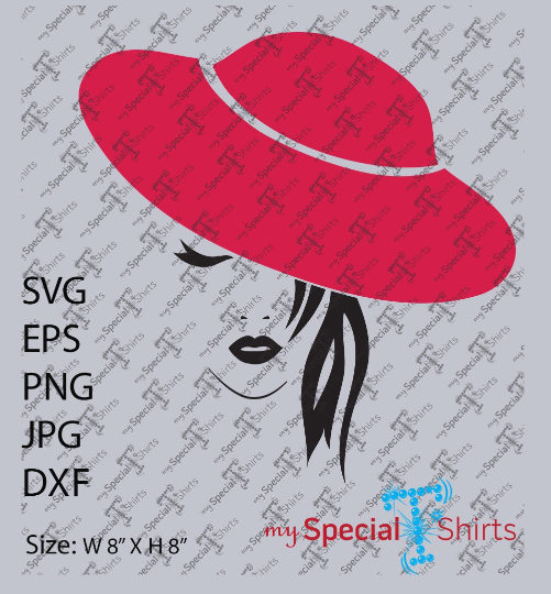 Lady in Red Hat Vector Digital Download