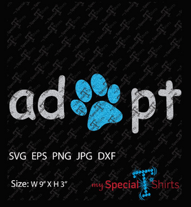 Adopt With Paw Vector Digital Download