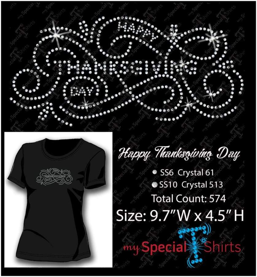 Happy Thanksgiving Day Rhinestone Digital Download Mst - Be Createful - Becreateful.com