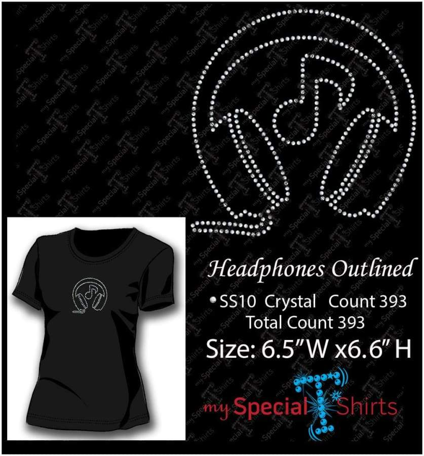 Headphones Outlined Rhinestone Digital Download Mst - Be Createful - Becreateful.com