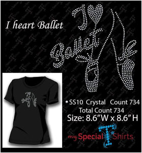 I Heart Ballet Rhinestone Digital Download Mst - Be Createful - Becreateful.com