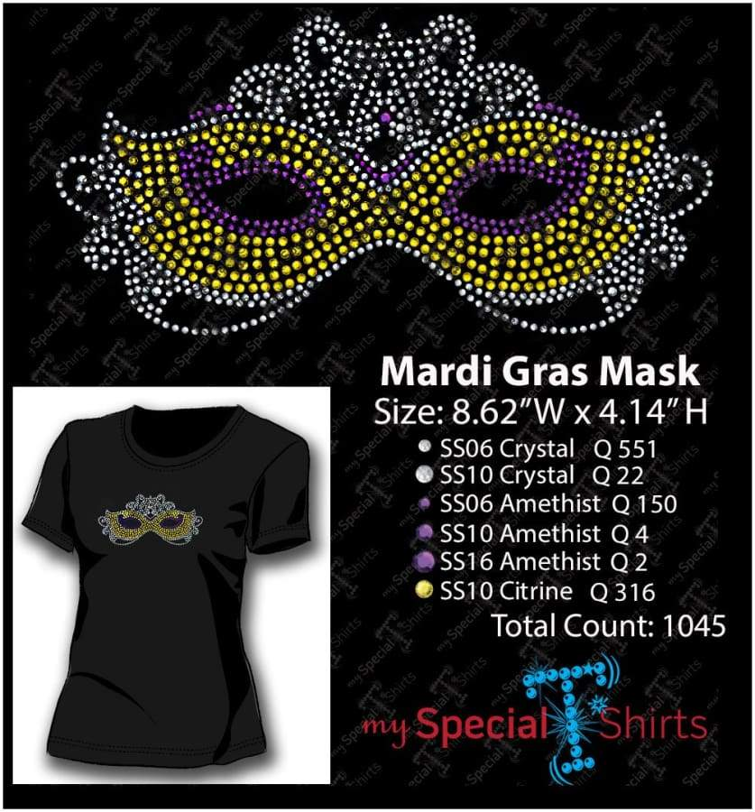 Mardi Gras Mask Rhinestone Digital Download Mst - Be Createful - Becreateful.com