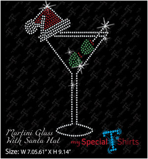 Martini Glass With Santa Hat Digital Download