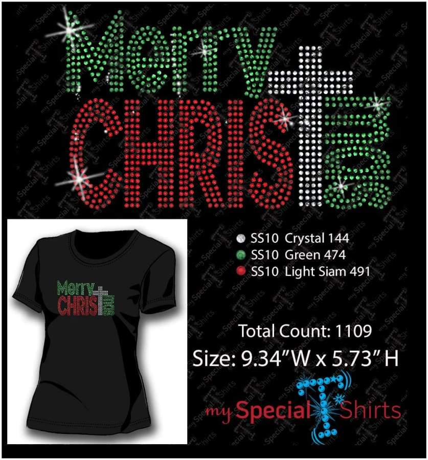 Merry Christmas Rhinestone Digital Download Mst - Be Createful - Becreateful.com
