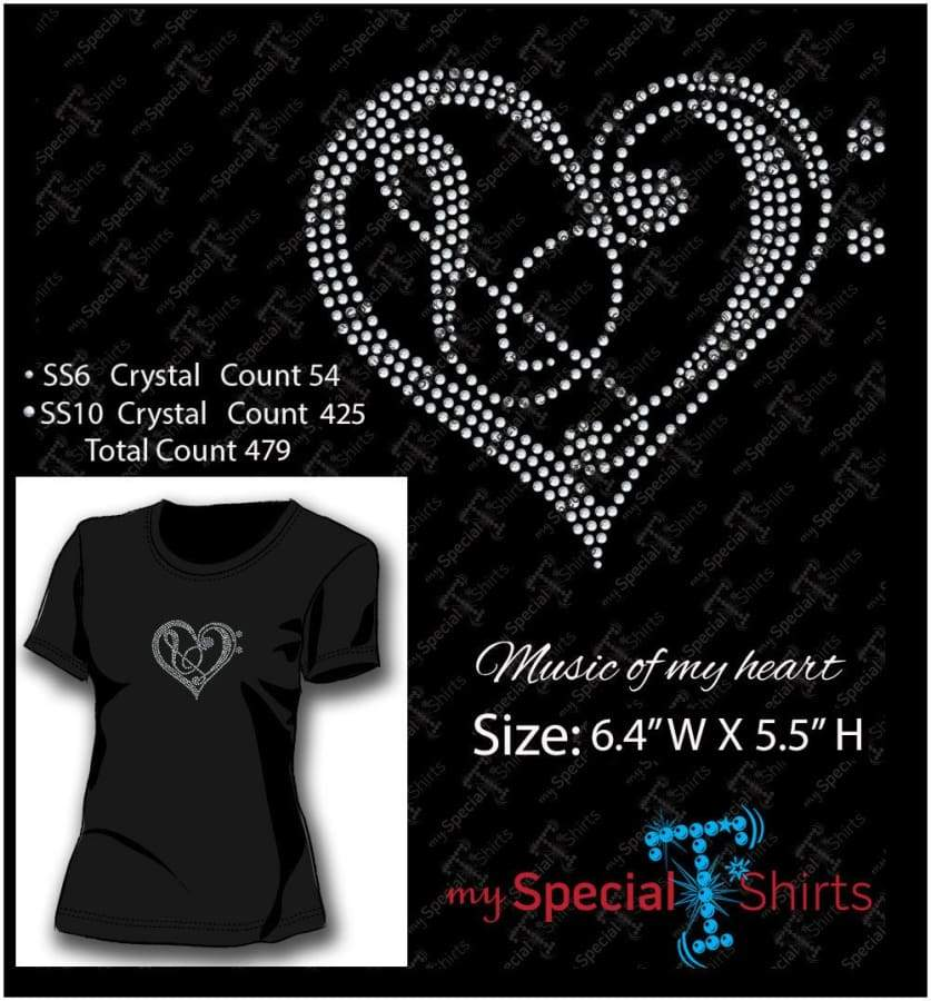 Music Heart 2 Rhinestone Digital Download Mst - Be Createful - Becreateful.com