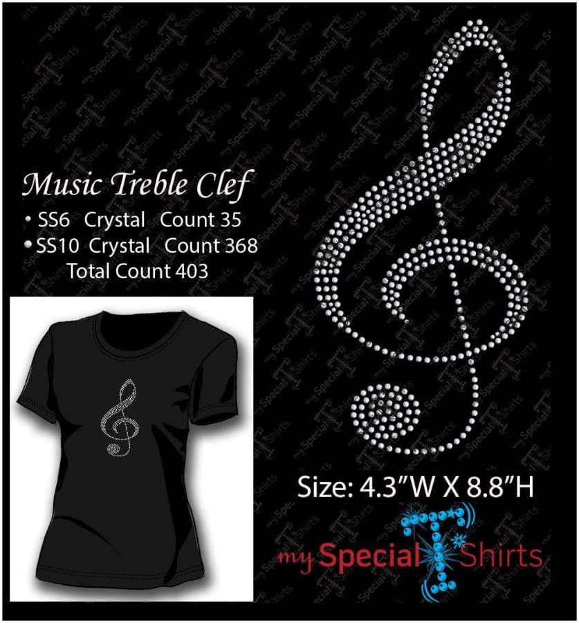 Music Treble Clef Rhinestone Digital Download Mst - Be Createful - Becreateful.com