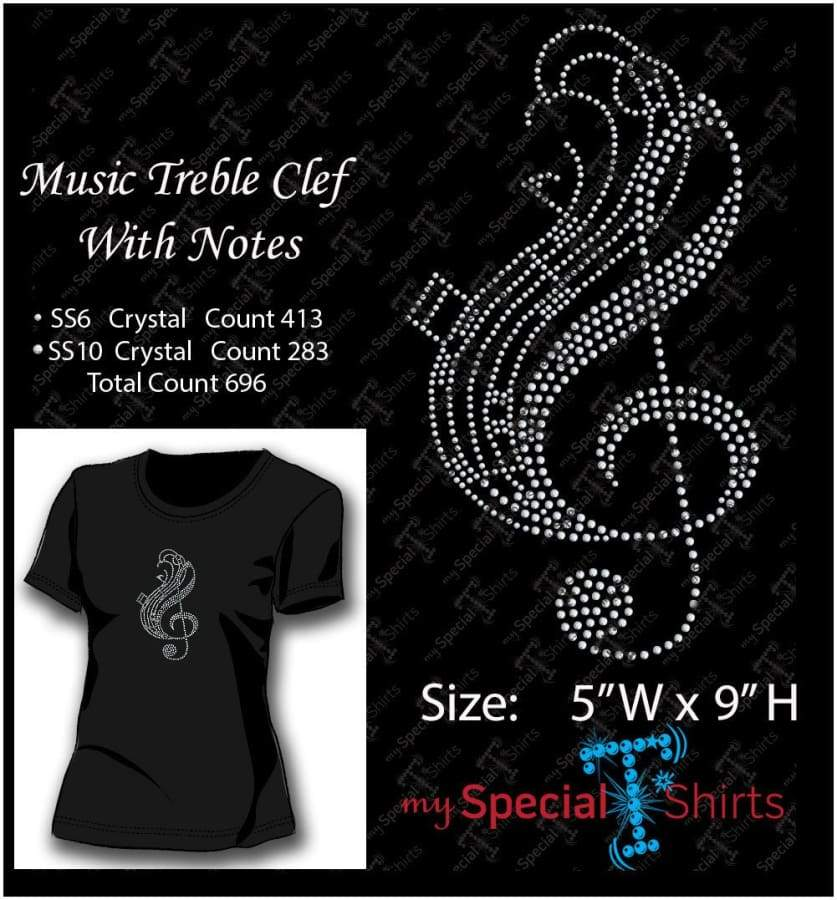 Music Treble Clef With Notes Rhinestone Digital Download Mst - Be Createful - Becreateful.com