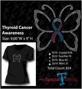 Thyroid Cancer Awareness Rhinestone Digital Download Mst - Be Createful - Becreateful.com
