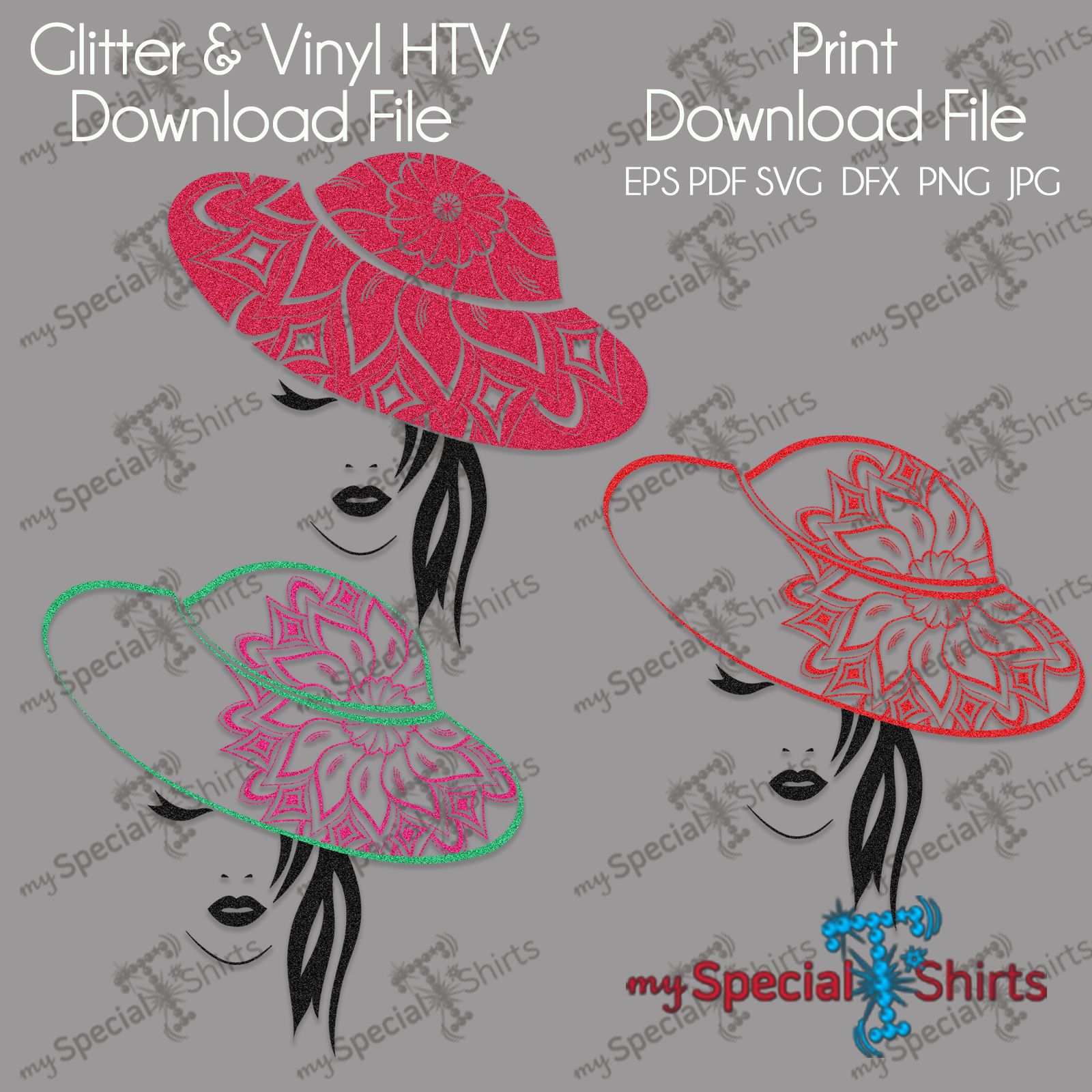 Lady in Mandala hat bundle Digital  Download