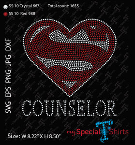 Super Counselor Heart Rhinestone Digital Download
