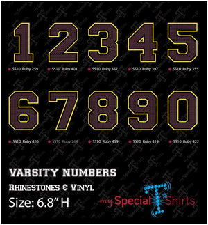 Varsity Letter And Numbers Rhinestone With Htv Outline Digital Download Mst - Be Createful - Becreateful.com