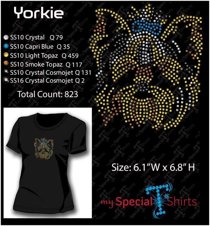 Yorkie Color Rhinestone Digital Download Mst - Be Createful - Becreateful.com