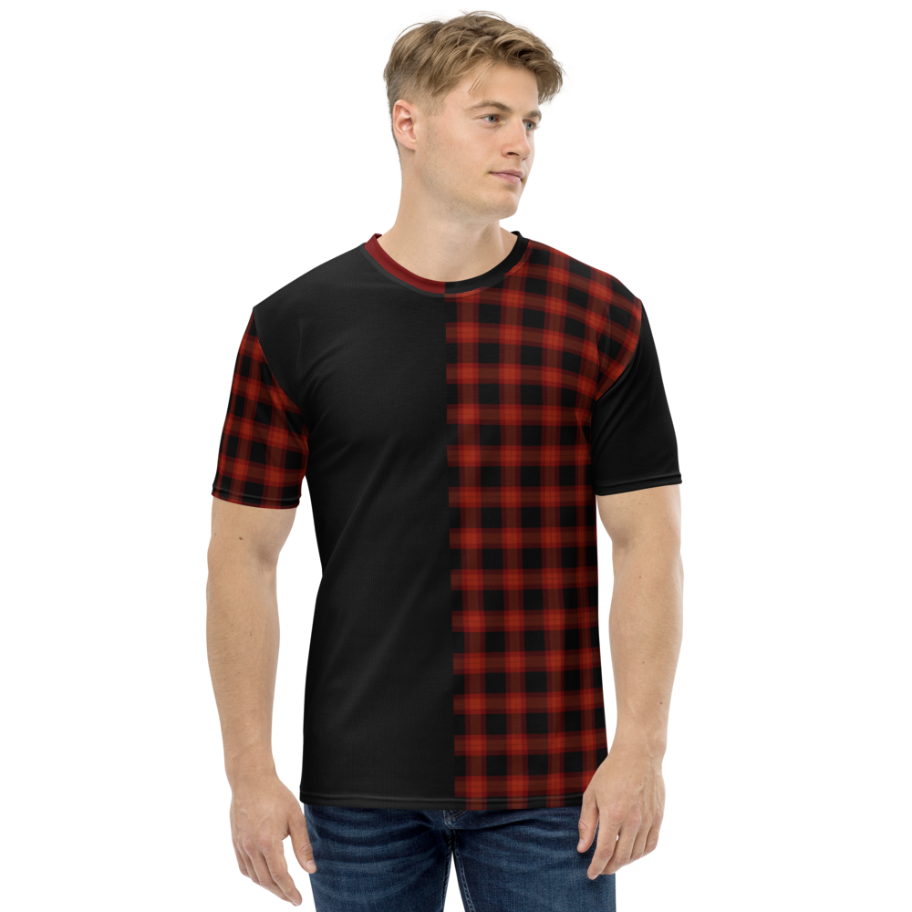 Men's Half Plaid T-shirt