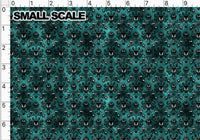 Haunted Wallpaper on Green PRE ORDER YARD Violet Snow Custom Fabric Cotton Spandex 240 GSM Small
