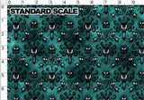 Haunted Wallpaper on Green PRE ORDER YARD Violet Snow Custom Fabric Cotton Spandex 240 GSM Standard
