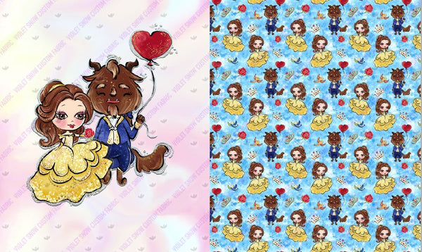 Limited Pre Order - Beauty and Beast Topper Set PRE ORDER TOPPER Violet Snow Custom Fabric Minky