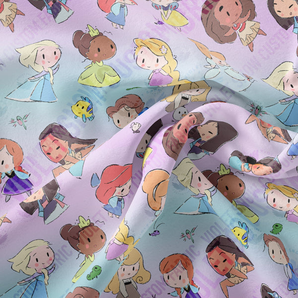 Limited Pre Order - Princesses and friends on Pink and Blue Ombre PRE ORDER YARD Violet Snow Custom Fabric