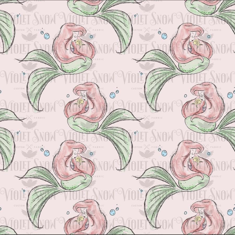 Pre Order - Ariel on Pink PRE ORDER YARD Violet Snow Custom Fabric