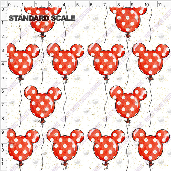 Pre Order: Ballon Ears on White PRE ORDER YARD Violet Snow Custom Fabric Cotton Spandex 240 GSM Standard