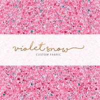 Pre-Order - Be Mine, Pink Glitter PRE ORDER YARD Violet Snow Custom Fabric Cotton Woven