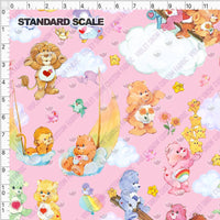 Pre Order - Bears Sailing on Pink Skies PRE ORDER YARD Violet Snow Custom Fabric Cotton Spandex 240 GSM Standard