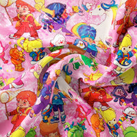 Pre Order - Brite Friends and Sprites on Neon Pink PRE ORDER YARD Violet Snow Custom Fabric