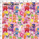 Pre Order - Brite Friends and Sprites on Neon Pink PRE ORDER YARD Violet Snow Custom Fabric Cotton Canvas Small